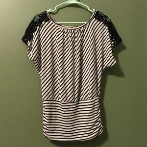 iZ Byer Black and White Striped Shirt Juniors Med